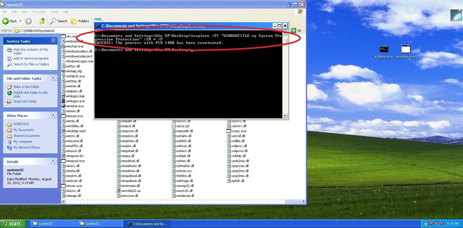 "iexplore /FI ""WINDOWTITLE eq System Progressive Protection"" /IM * /F"