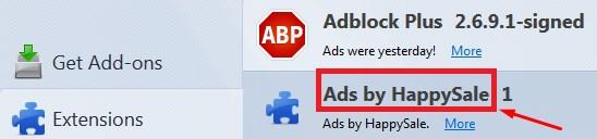 HappySale virus, HappySale problem, HappySale pop up, HappySale uninstall, Ads by HappySale block