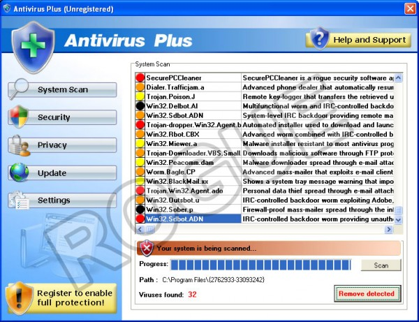 AntivirusPlus - fake virus detection