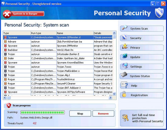 PersonalSecurity - rogue antispyware