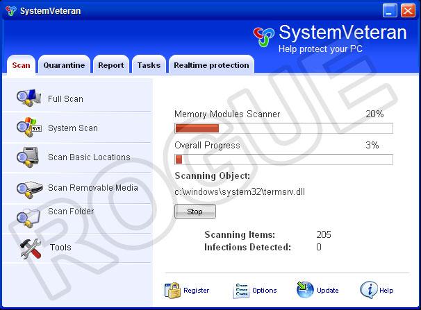 SystemVeteran - fake scanner