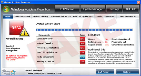 Windows Accidents Prevention virus