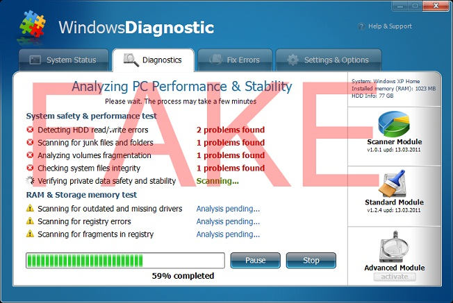 Windows Diagnostic virus