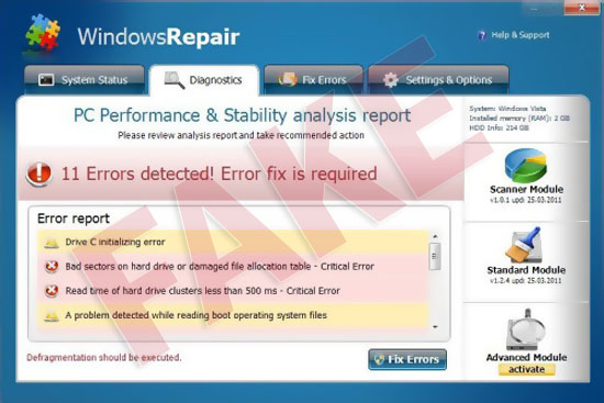 Windows Repair virus