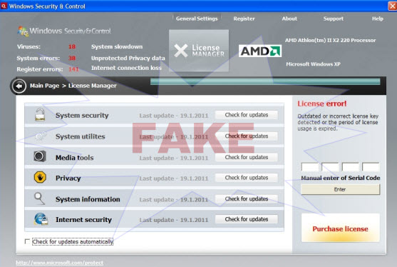 Windows Security & Control virus