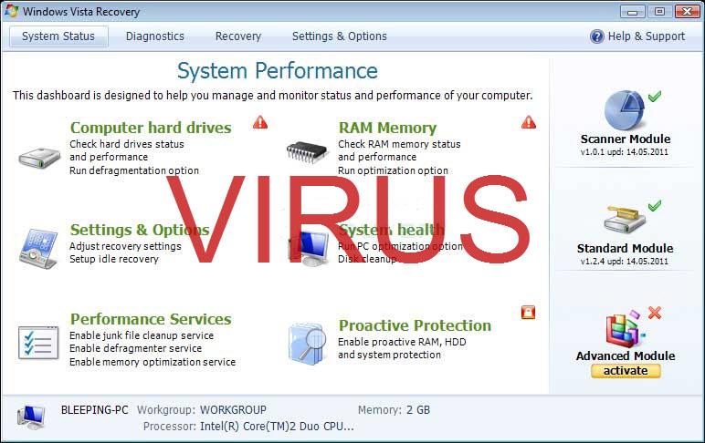 Windows Vista Recovery virus