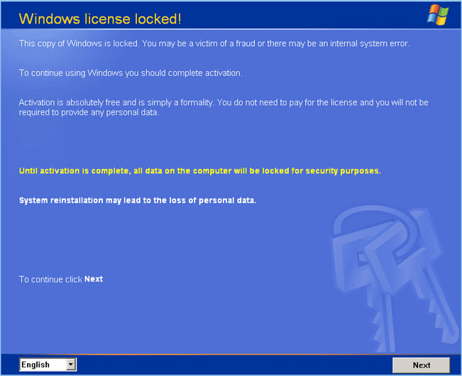 Windows license locked scam notice