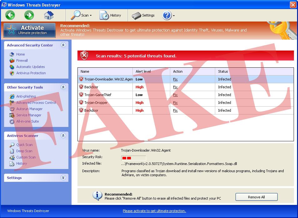 Windows bedreigingen Destroyer