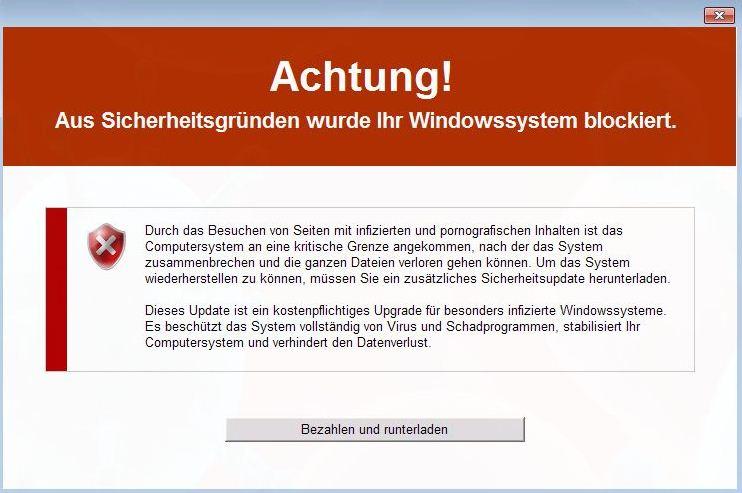Achtung! Aus Sicherheitsgründen wurde Ihr Windowssystem blockiert