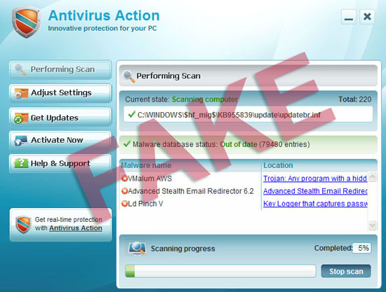 Antivirus Action rogue