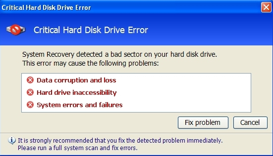 Critical Hard Disk Drive Error