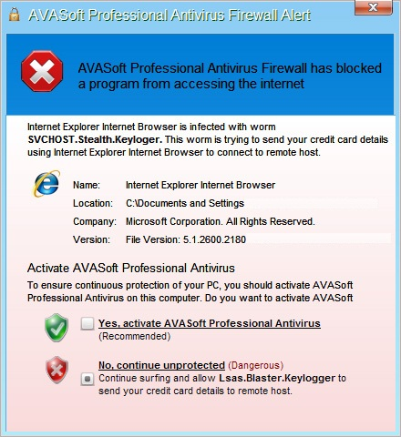 AVASoft Professional Antivirus Firewall Alert