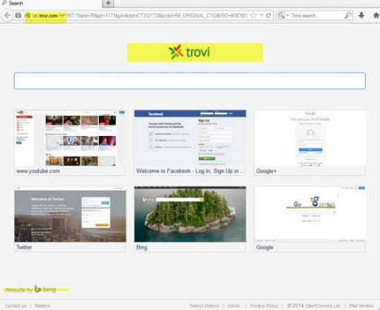 Removal of lab.trovi.com from browser