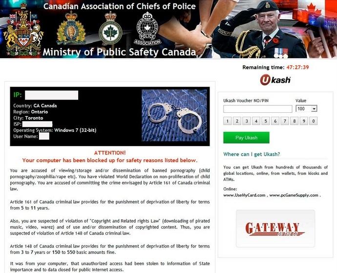 משרד בטיחות ציבור קנדה ransomware