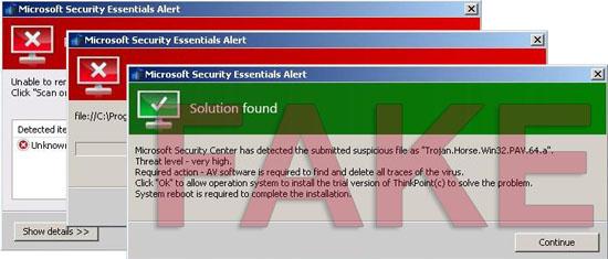 Microsoft Security Essentials Alert