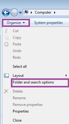 Folder and search option in Windows Vista/7