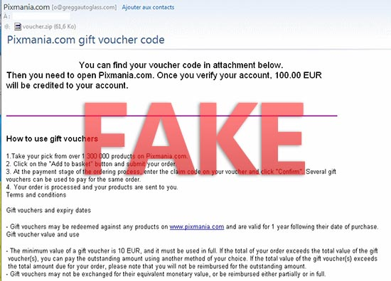 Fake pixmania.com email