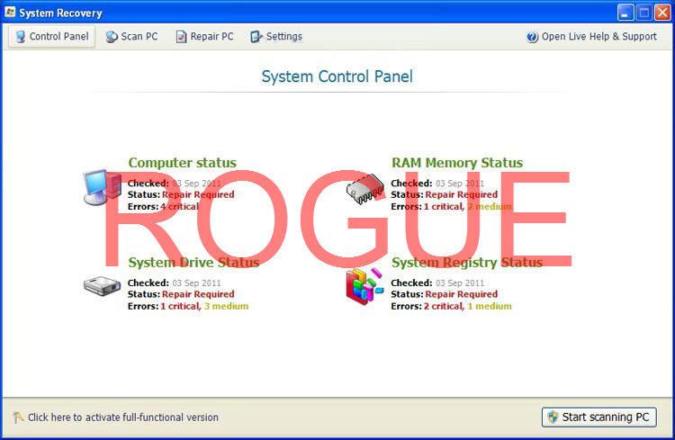 System Recovery virus