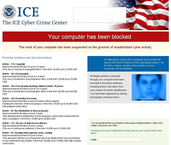 The ICE Cyber Crime Center virus