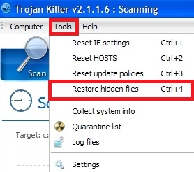 GridinSoft Tools to restore hidden files