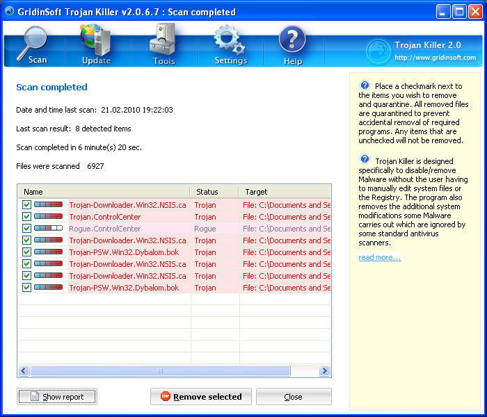 The screenshot above displaying all the threats that Trojan Killer found. Please note that the infections found on your computer may be different than what is shown here