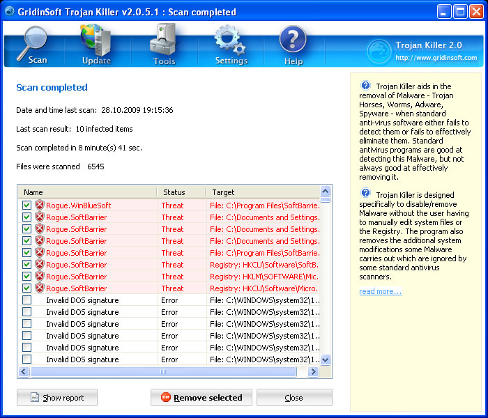 Trojan Killer detected rogue SoftBarrier antivirus
