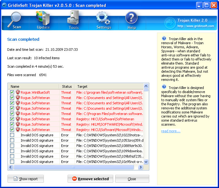 Trojan Killer detected rogue SoftVeteran antivirus
