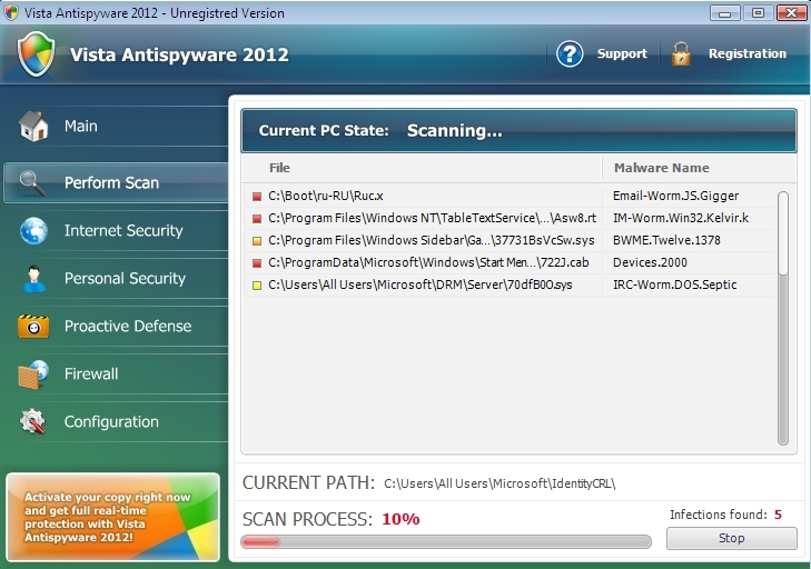 Vista Antispyware 2012 malware