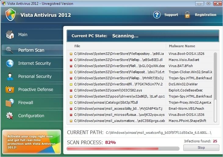 Vista Antivirus 2012 scam