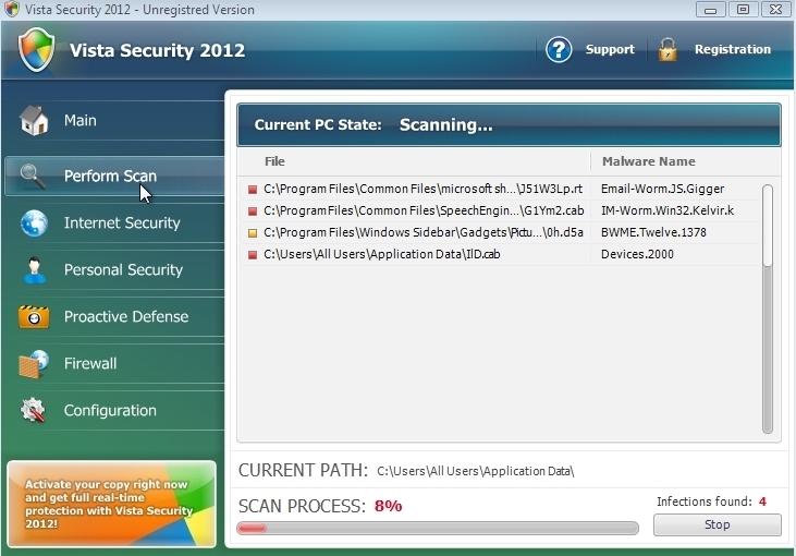 Vista Security 2012 scam