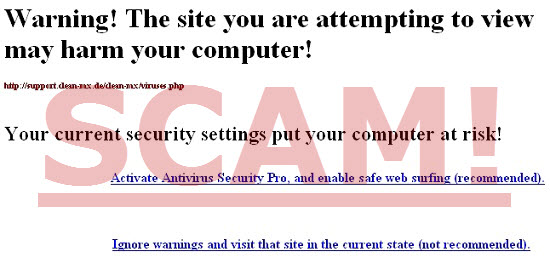 Warning! The site you are attempting to view may harm your computer