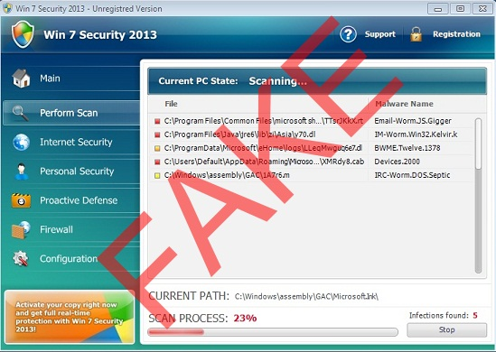 Win 7 Security 2013 malware