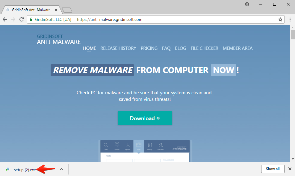 Step 1. Download GridinSoft Anti-Malware. Click on its installer in the left-bottom section of your browser