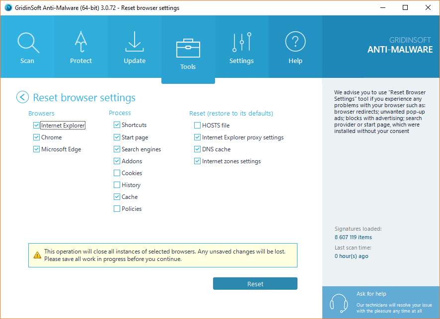 Anti-Malware: Tools: Reset Browser Settings