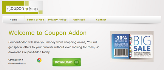 Coupon Addon adware
