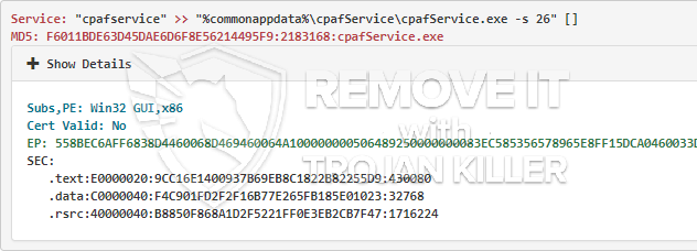 cpafService.exe virus