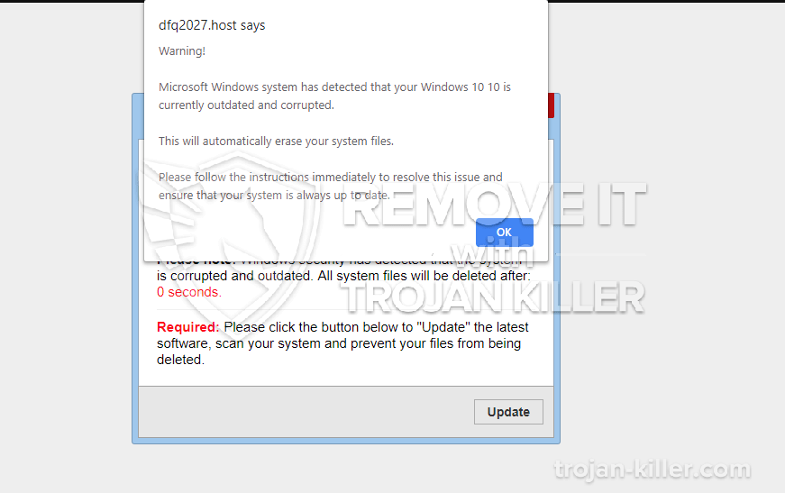 Microsoft Windows system has detected virus