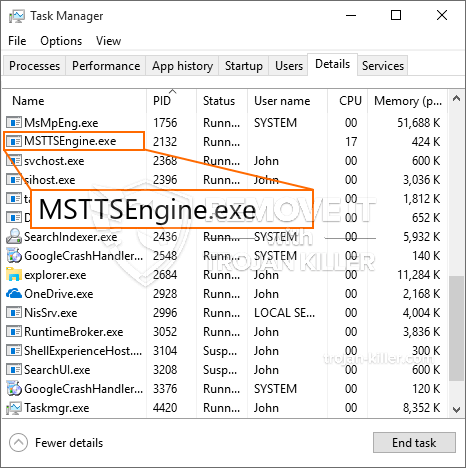 What is MSTTSEngine.exe?