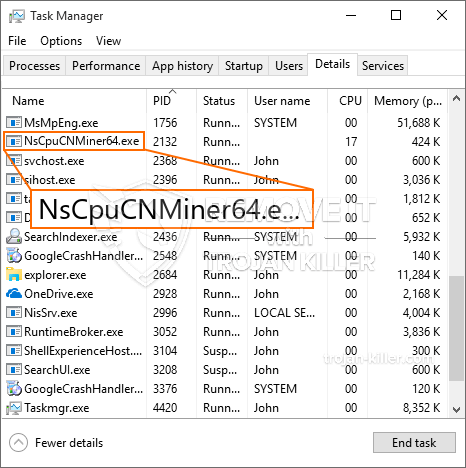 What is NsCpuCNMiner64.exe?