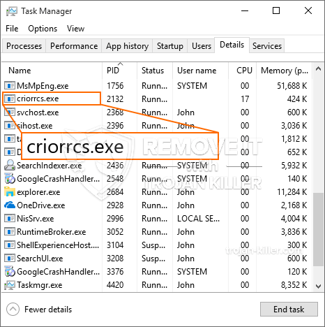 What is Criorrcs.exe?