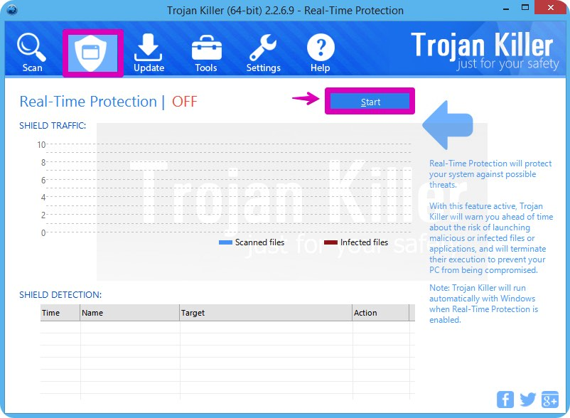 Enabling Real-Time Protection by GridinSoft Trojan Killer