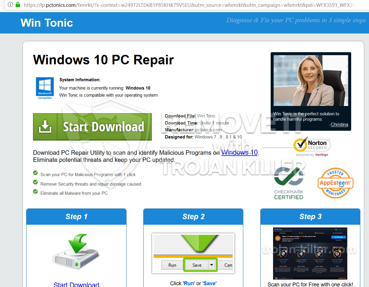 Win Tonic phony optimization tool (removal guide)  - Trojan