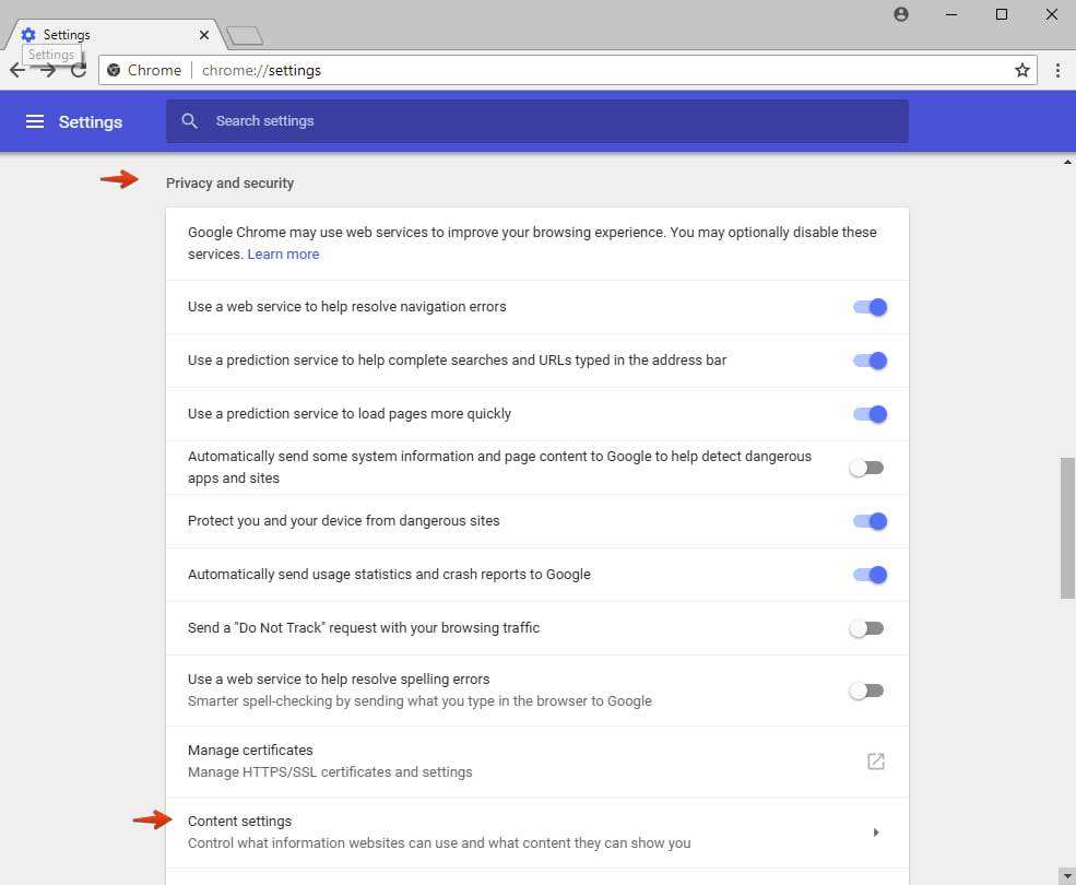 Google Chrome content settings