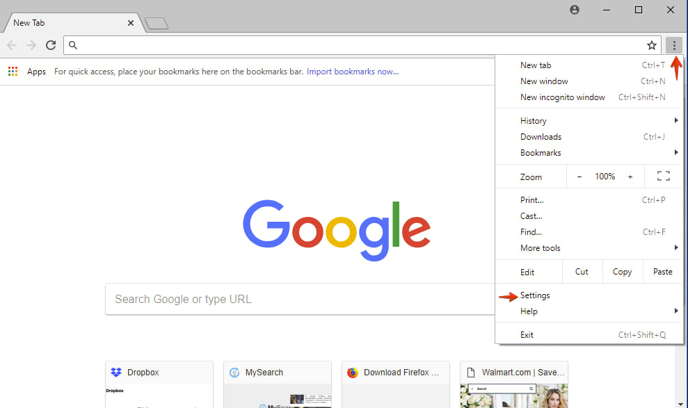 Configurações do Google Chrome
