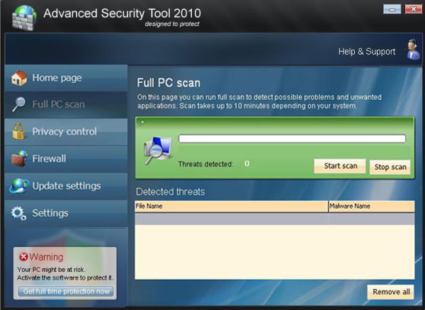 Advanced security tool 2010 - FAKE