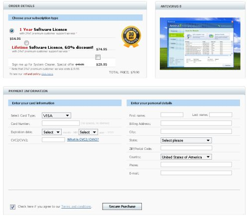 Antivirus 8 Payment Processing Page