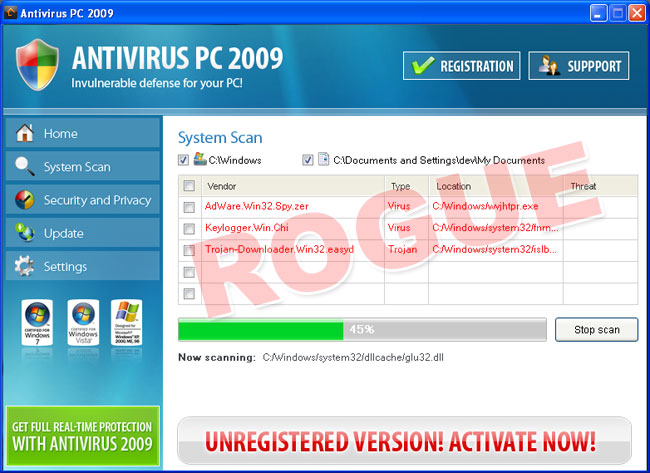 AntivirusPC2009 - fake scan results