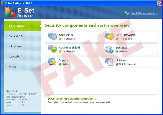 E-Set Antivirus 2011 malware