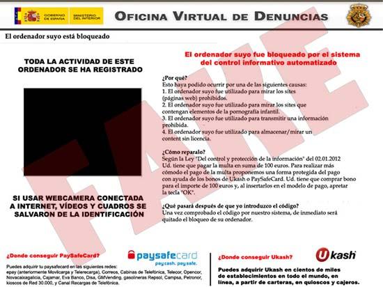Oficina Virtual de Denuncias virus