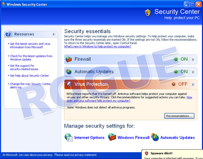 RESpyWare - Fake Security Center